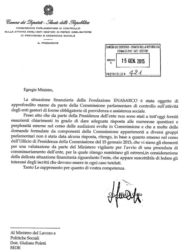 lettera commissione controlla autorita