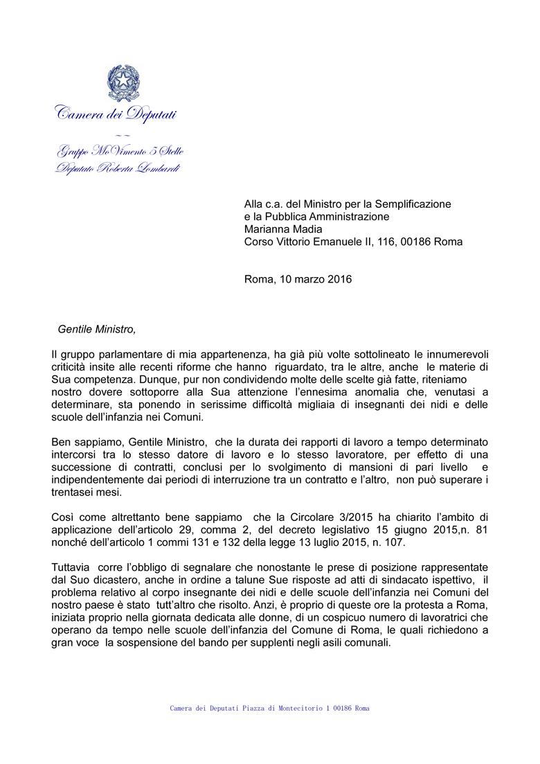 lettera per le precarie degli asili nido