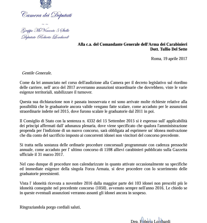 Lettere Di Lavoro: Concorsi Dell'Arma Dei Carabinieri E Idonei Non Vincitori